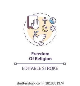 Freedom of religion concept icon. Religious liberty and pluralism idea thin line illustration. Fundamental human right. Secularism. Vector isolated outline RGB color drawing. Editable stroke