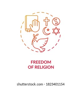 Freedom of religion concept icon. Religious coexistence idea thin line illustration. Fundamental human right. Pluralism. Secularism. Amendment. Vector isolated outline RGB color drawing - Shutterstock ID 1823401154