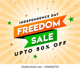 Freedom Sale on Independence Day of India, Concept, Template, Banner, Logo Design, Icon, Poster, Unit, Label, Web Header, Mnemonic with Celebration orange Rays Background - Vector, illustration