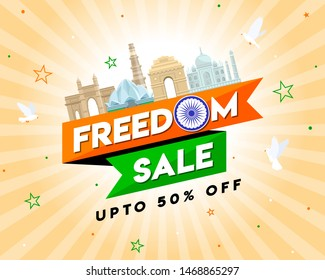Freedom Sale on Independence Day of India, Concept, Template, Banner, Logo Design, Icon, Poster, Unit, Label, Web Header, Mnemonic with famous monument of India and Ashok Chakra on festive background.