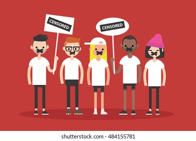 Freedom of speech concept. A group of people with taped mouths / Flat vector illustration