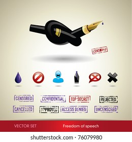 Freedom of speech. Vector set