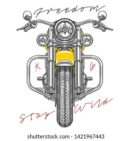 freedom stay wild slogans vector chopper motorbike  illustration technical drawing style fashion tee shirt graphic design textile clothing print