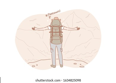 Freedom, travel, hiking concept. Active adventurous man with backpack, boy hiker traveller or explorer standing on top of mountain or cliff, feeling freedom and looking on valley. Simple flat vector