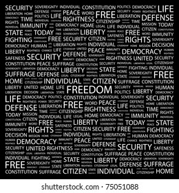 FREEDOM. Word collage on black background. Vector illustration. Illustration with different association terms.