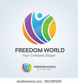 Freedom world vector logo template