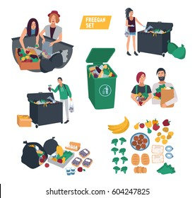 freeganism set. freegan people search food in dumpster, trash bin, garbage can. cartoon vector illustrations collection.