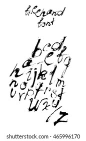 Freehand abc font hand written with ink and brush with spatter and brush trace isolated on white background. Vector illustration, good for lettering and print. Alphabet from A to Z