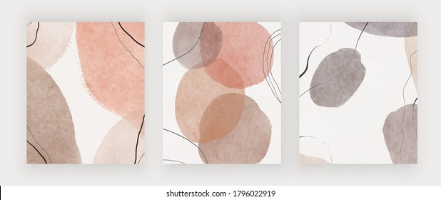 Freehand abstract mid century backgrounds for wall art, invitation