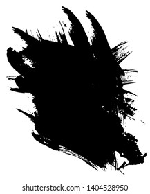 Freehand brush - Black vector abstract paint on white background