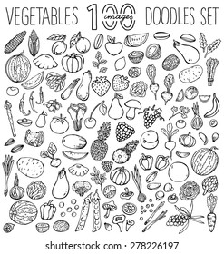 Freehand color  drawing vegetables and fruits on white. Vector illustration.