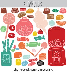 Freehand colored vintage wrap candies, chocolate and caramel illustration. Lollipop and cotton candy drawing. Licorice jar and gum drop dispenser machine sketch. Sweet confection food and holiday mint