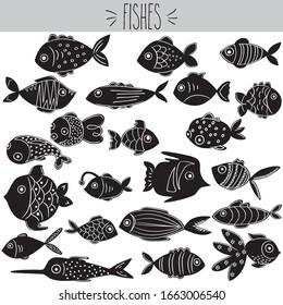 Freehand cute swimming sea fishes  vector illustration Tropical blow fish sketch. Marine cartoon collection. Ocean doodles. Aquatic clip art.