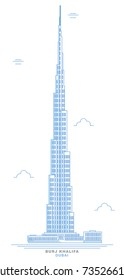 A freehand design of the Burj Khalifa, the megatall skyscraper in Dubai, United Arab Emirates, and the tallest skyscraper in the world. October 16, 2017. Skyscraper of urban landscape of Dubai.