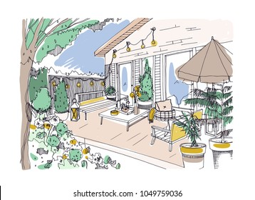 Freehand drawing of backyard patio or terrace furnished in Scandinavian hygge style. House veranda with modern furniture. Stylish home outdoor interior design. Hand drawn vector illustration
