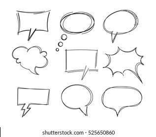 Freehand drawing bubble speech items. Pencil drawing. Isolated on white background. Vector illustration. Set