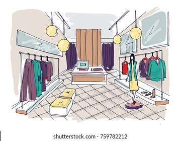 Freehand drawing of clothing boutique interior with hanging racks, furnishings, mannequin dressed in stylish clothes. Hand drawn fashion store or trendy apparel shop. Colorful vector illustration.