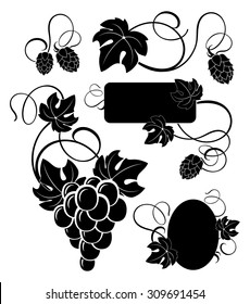 freehand drawing elements of the vine and the branches of hops