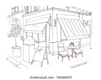 Freehand drawing of european sidewalk cafe or restaurant with table and chairs standing on city street beside building. Vector illustration drawn with black contour lines on white background.