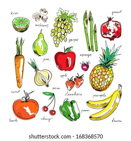 Freehand drawing fruit and vegetables on a white background. Vector illustration.