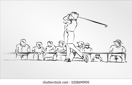 Freehand drawing Hand Draw Professional Golfer Retro Clip Art vector Illustration