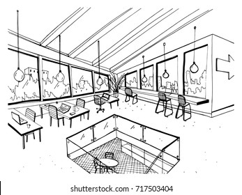 Freehand drawing of open space or coworking with large panoramic windows and comfortable furniture. Sketch of interior of modern office hand drawn in black and white colors. Vector illustration.