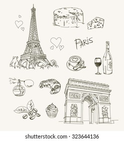 Freehand drawing Paris items on a sheet of exercise book. Eiffel Tower. Arc de Triomphe. Vector illustration. Isolated on white background