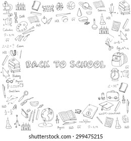 Freehand drawing school items, Back to School. Hand drawing set of school supplies sketchy doodles vector illustration, doodles, science, physics, calculus, oral exam, history, biology