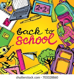 .Freehand drawing school items. Back to School.  Back to school big doodles set. Hand drawn with ink. Vector illustration