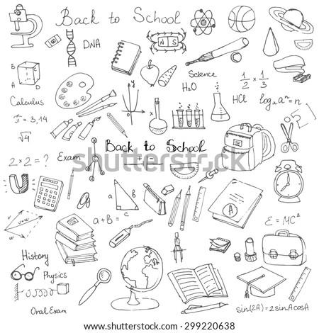 Freehand Drawing School Items Back School Stock-Vektorgrafik ...