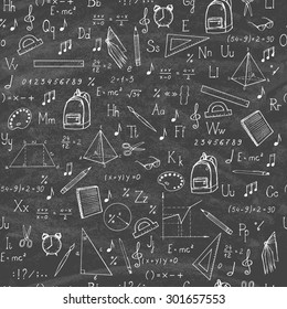 Freehand drawing school items on the blackboard. Seamless pattern. Vector illustration.