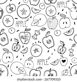 Freehand drawing. Seamless pattern. Sketch of an apple, leaf, apple seeds,  apple and a cut apple. drawn by hand. ?oloring book for adults. Custard apple. Incision cream apple.