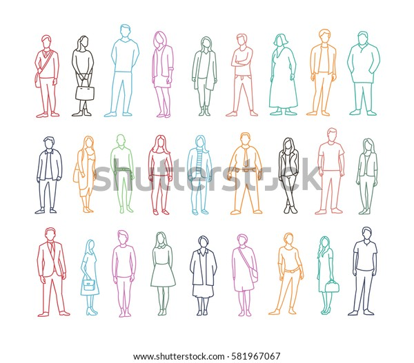 Freehand drawing set many different ordinary people. Adult male and female person.