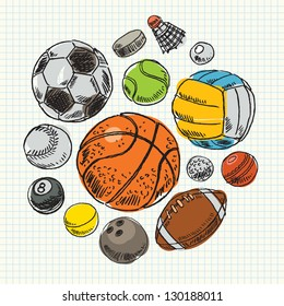 Freehand drawing sport balls. Vector illustration. Set