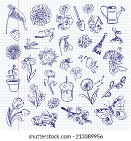 Freehand drawing spring items on a sheet of exercise book. Vector illustration. Set
