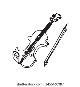 freehand drawing of a violin vector sketch