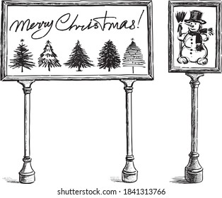 Freehand drawings of bulletin boards with sketches snowman, christmas trees and greeting text