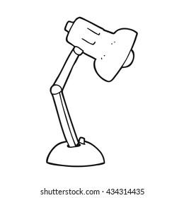 freehand drawn black and white cartoon desk lamp