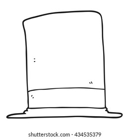 freehand drawn black and white cartoon top hat