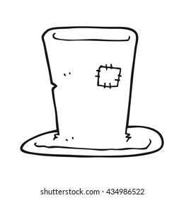freehand drawn black and white cartoon tramp top hat