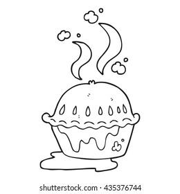 freehand drawn black and white cartoon hot pie