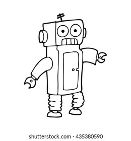 freehand drawn black and white cartoon robot