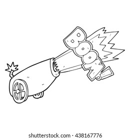 freehand drawn black and white cartoon cannon shooting