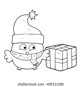 freehand drawn black and white cartoon christmas owl