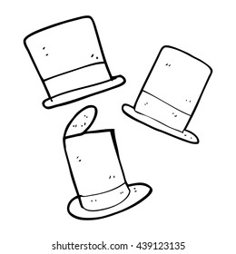 freehand drawn black and white cartoon top hats