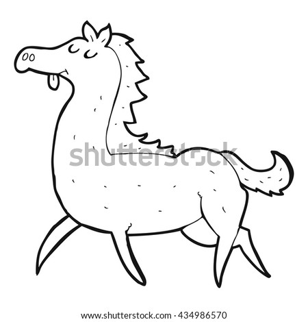 Freehand Drawn Black White Cartoon Horse Stock Vector Royalty Free