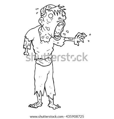 Freehand Drawn Black White Cartoon Zombie Stock Vector Royalty Free