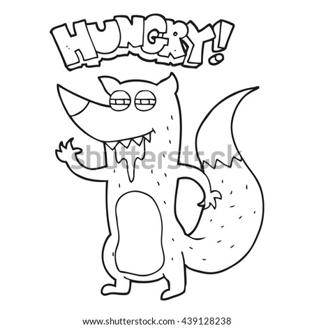 Freehand Drawn Black White Cartoon Hungry Stock Vector Royalty Free