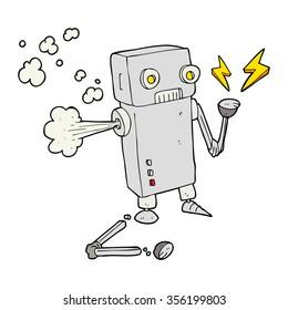 freehand drawn cartoon broken robot