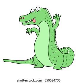 freehand drawn cartoon crocodile